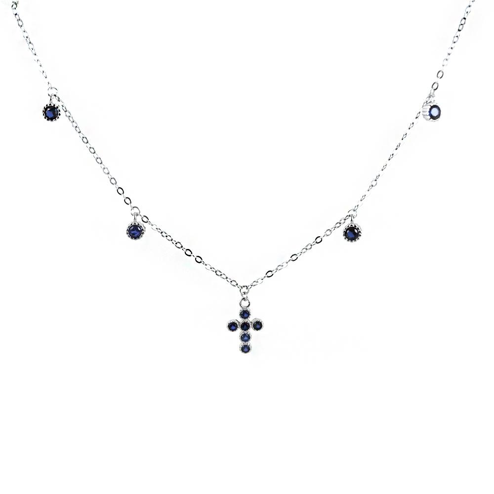 Collana con Croce e charms zirconi blu in argento Agios