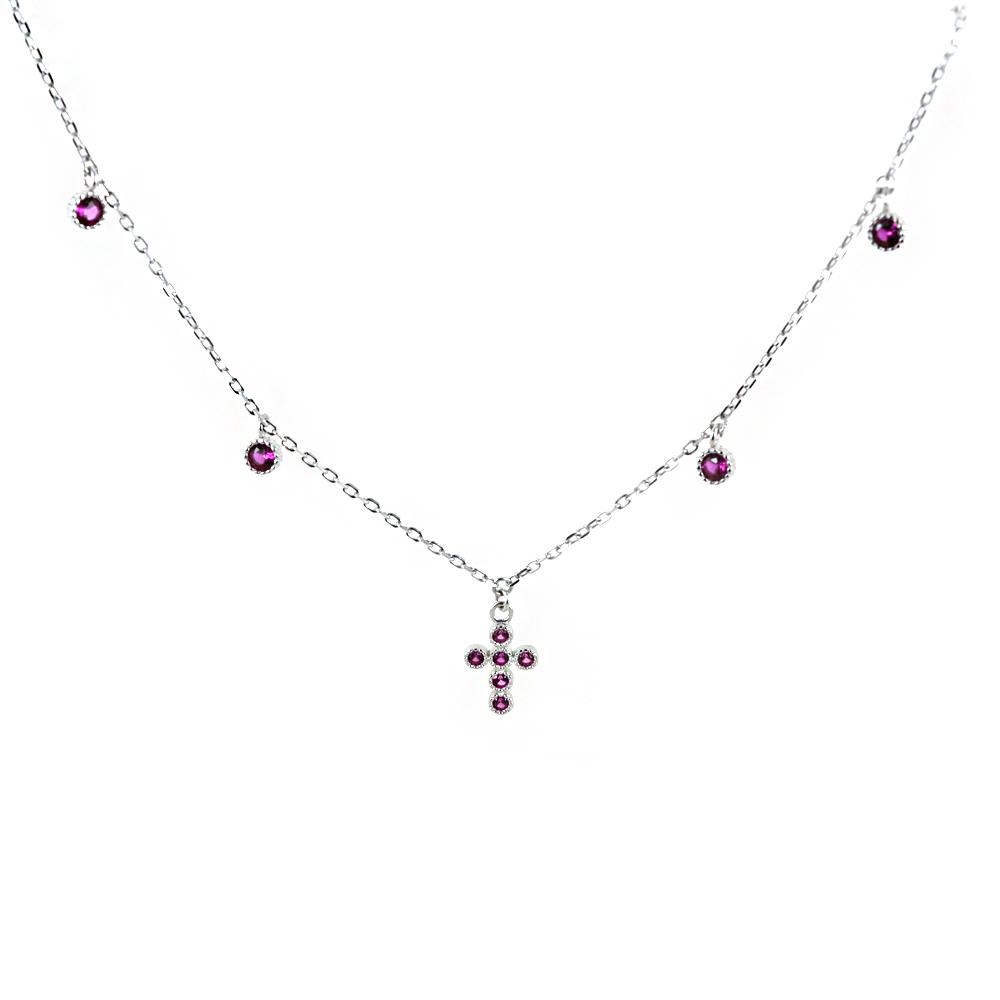 Collana con Croce e charms zirconi rossi in argento Agios