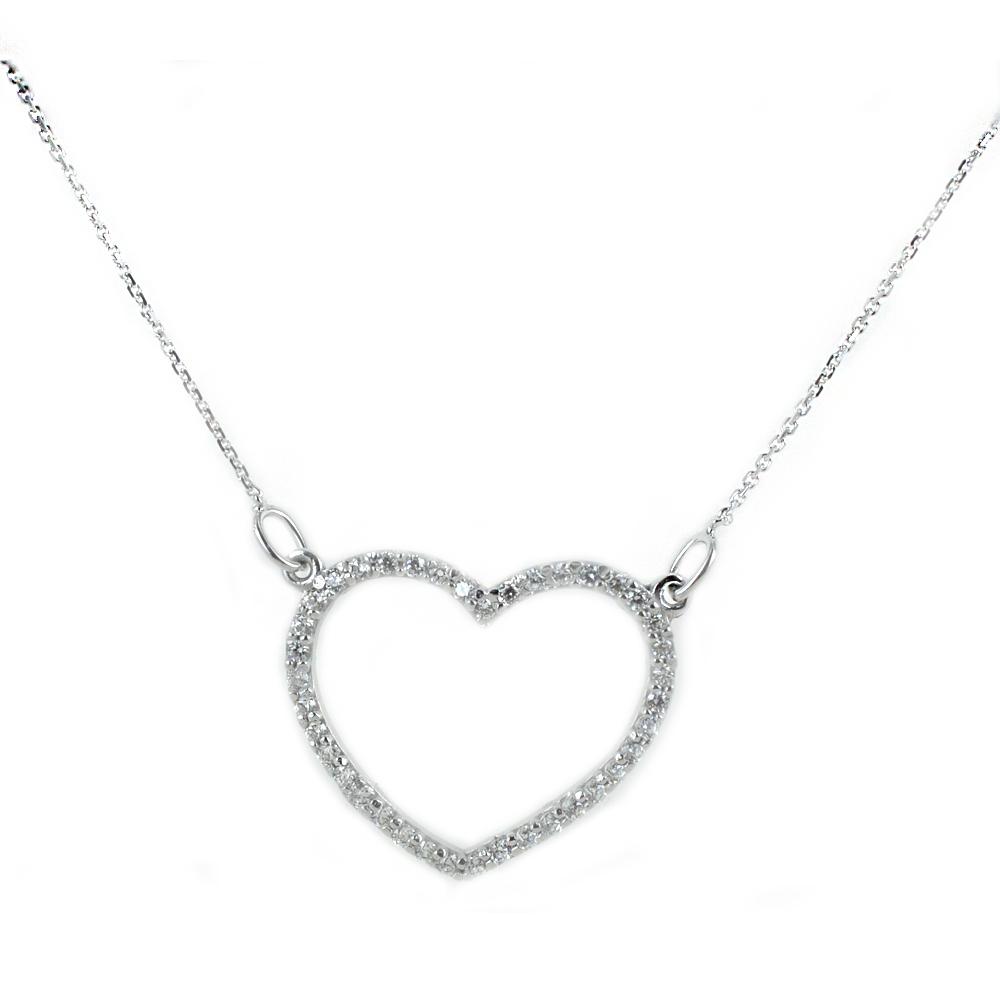 Collana con cuore traforato in oro bianco e zirconi