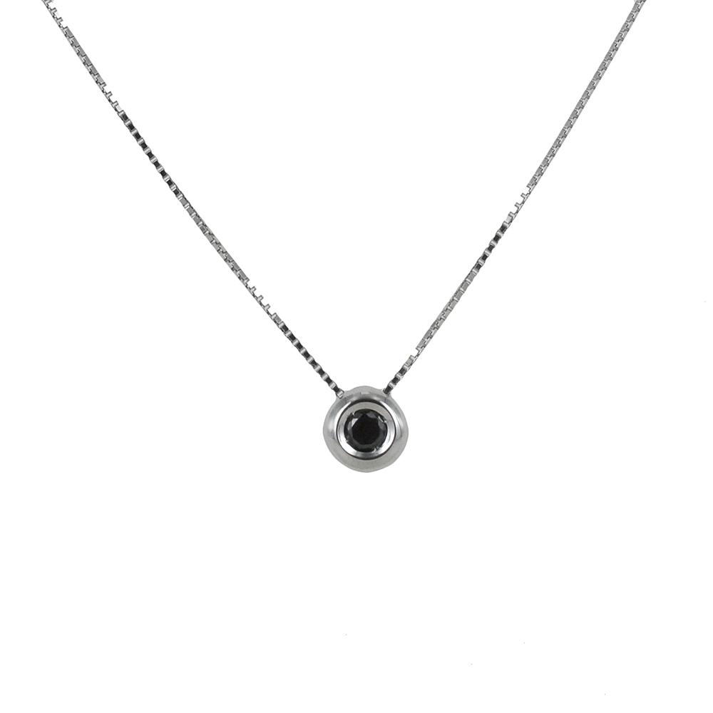 Collana con diamante nero da uomo ciondolo a cipollina 0.19 ct