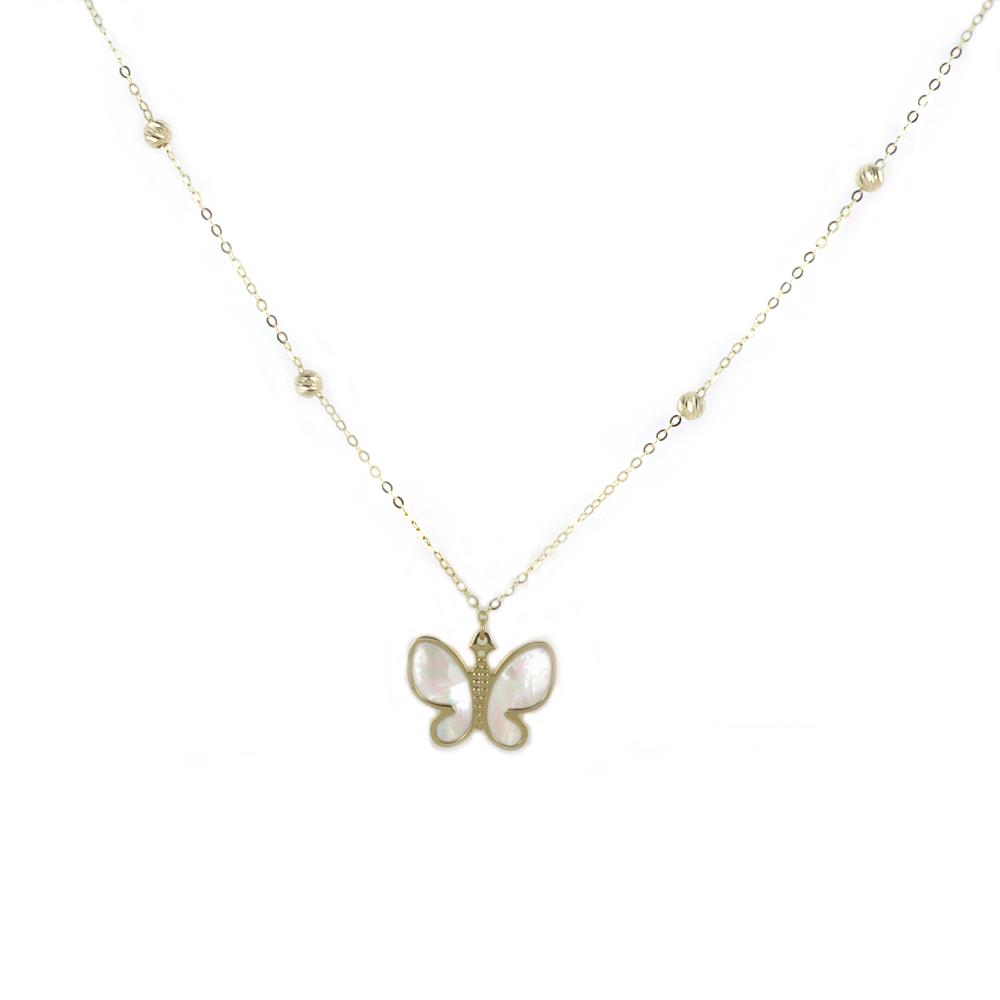 Collana con farfalla in oro e madreperla