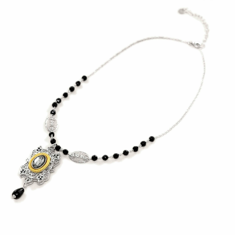 Collana con Madonna Miracolosa e onice in argento Agios