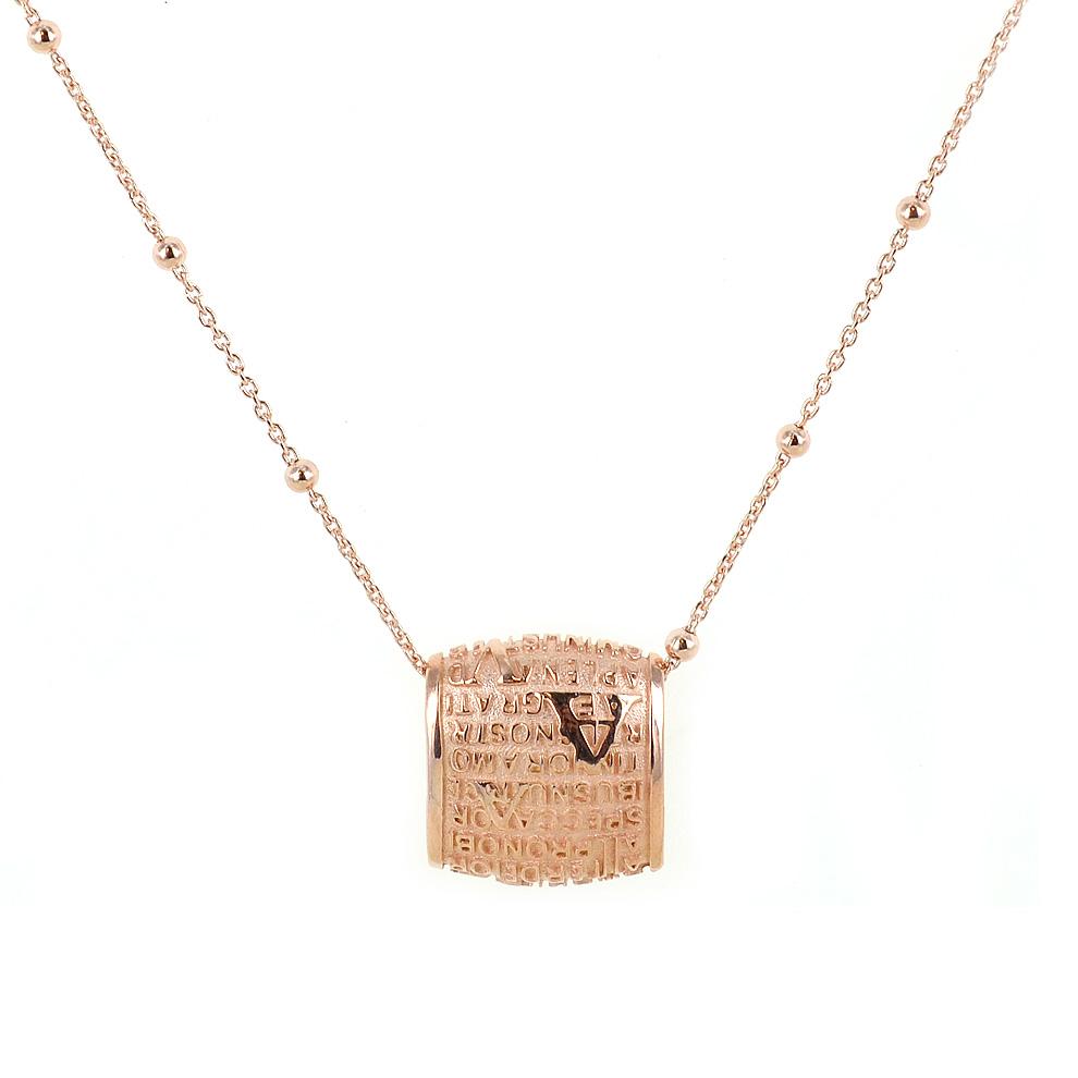 Collana con pendente Mater in argento rosa Ave Maria Agios