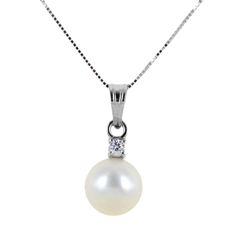 Collana con perla 7.50 - 8.00 mm e diamante