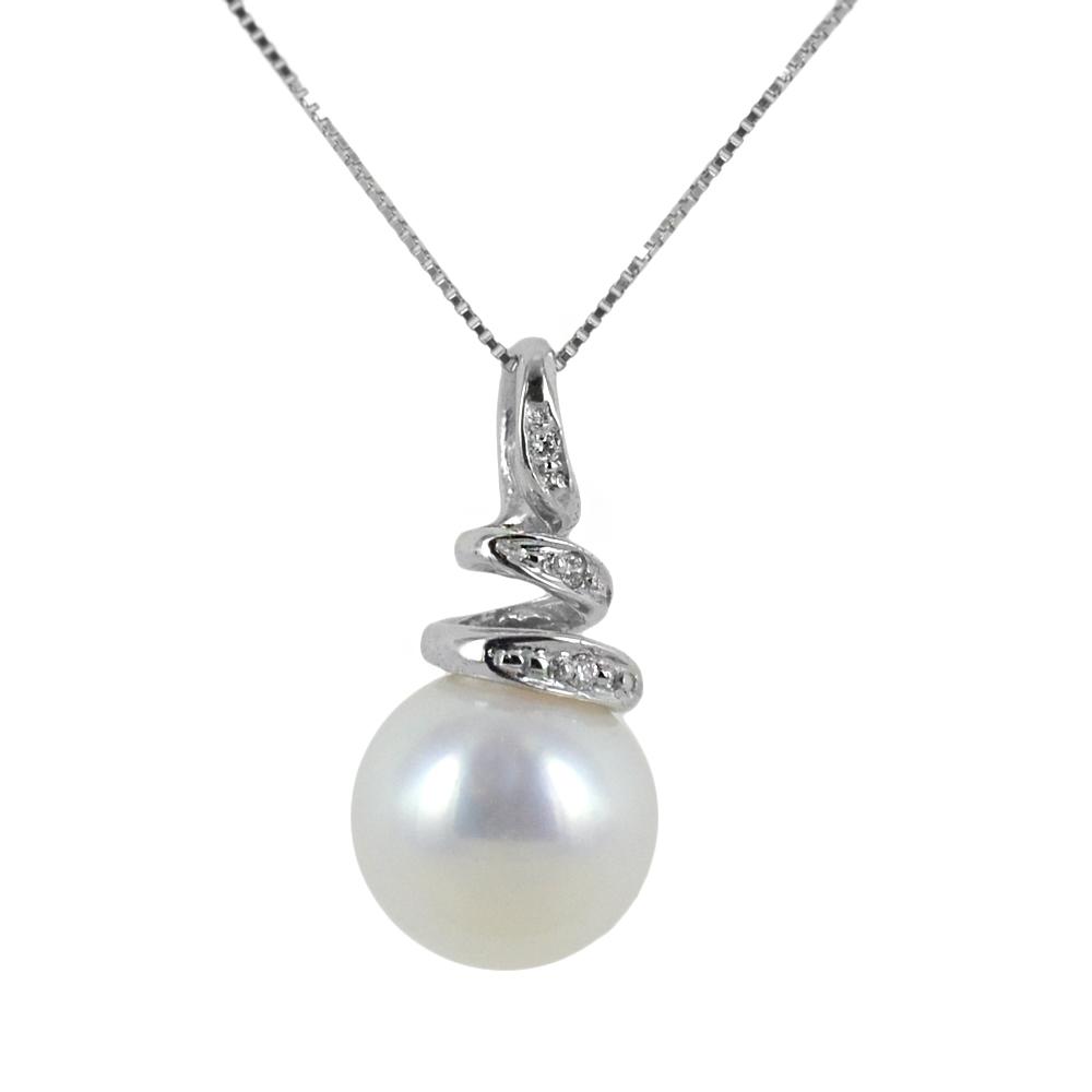 Collana con perla 8.00-8.50 mm e diamante