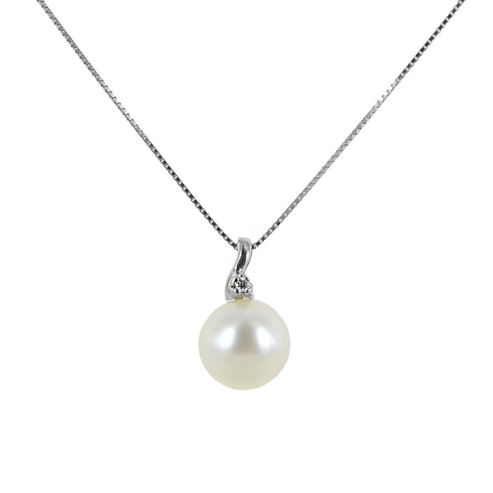 Collana con perla 8.00 -8.50 mm e diamante