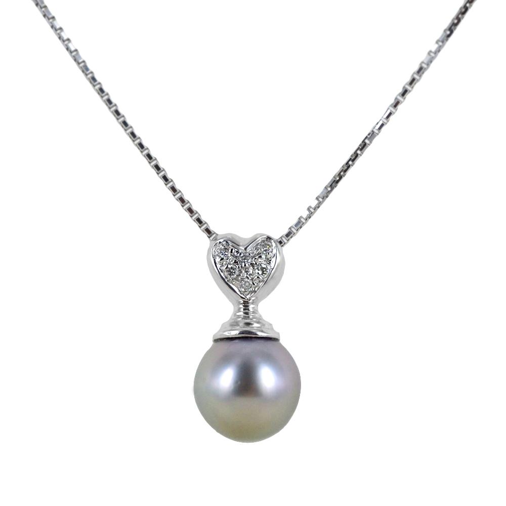 Collana con perla grigia 9.00 - 9.50 mm e diamanti