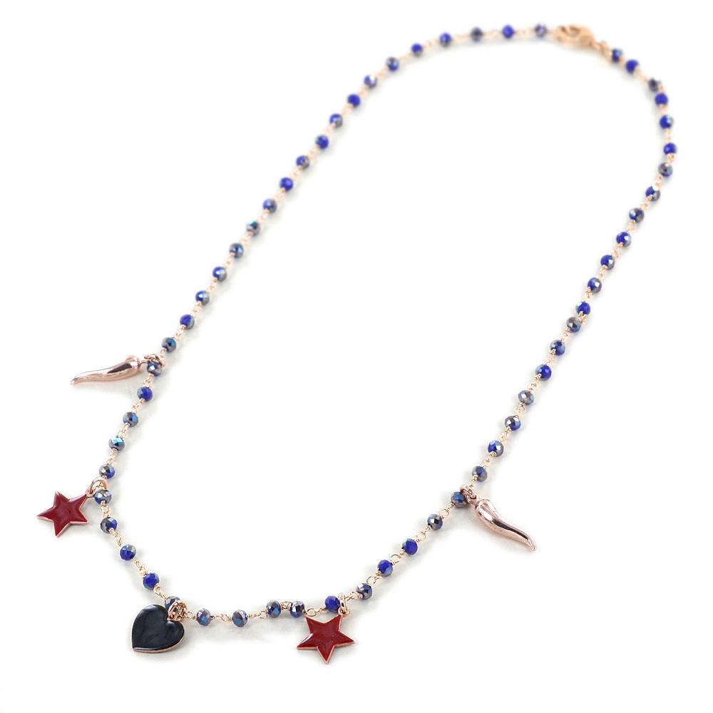 Collana con pietre viola boreale sfaccettate e ciondoli cuore stella corno