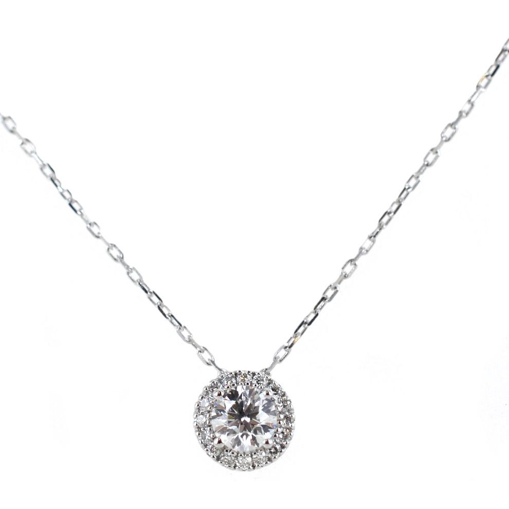 Collana con Punto Luce diamante ct. 0.31 F VS e contorno di diamanti Gioielli Valenza