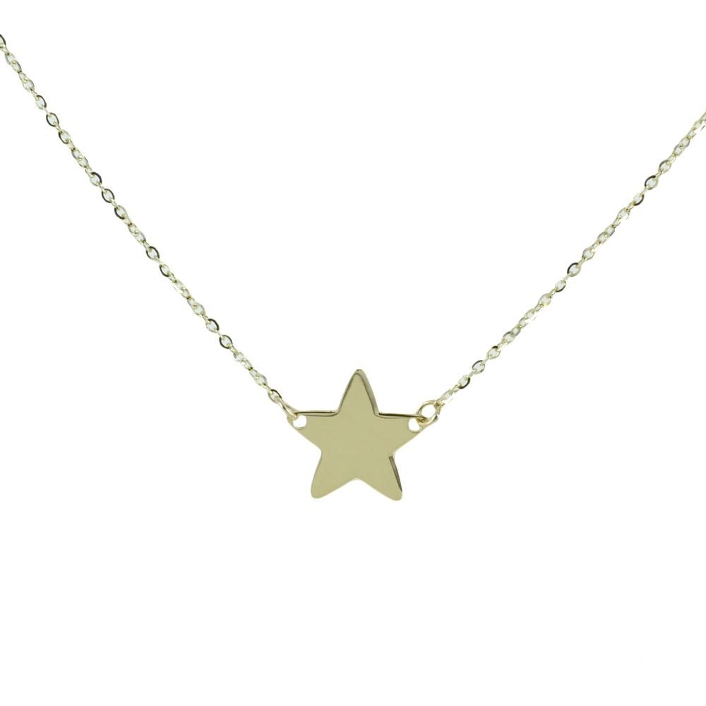 Collana con stella a lastra in oro giallo 9 kt stella media