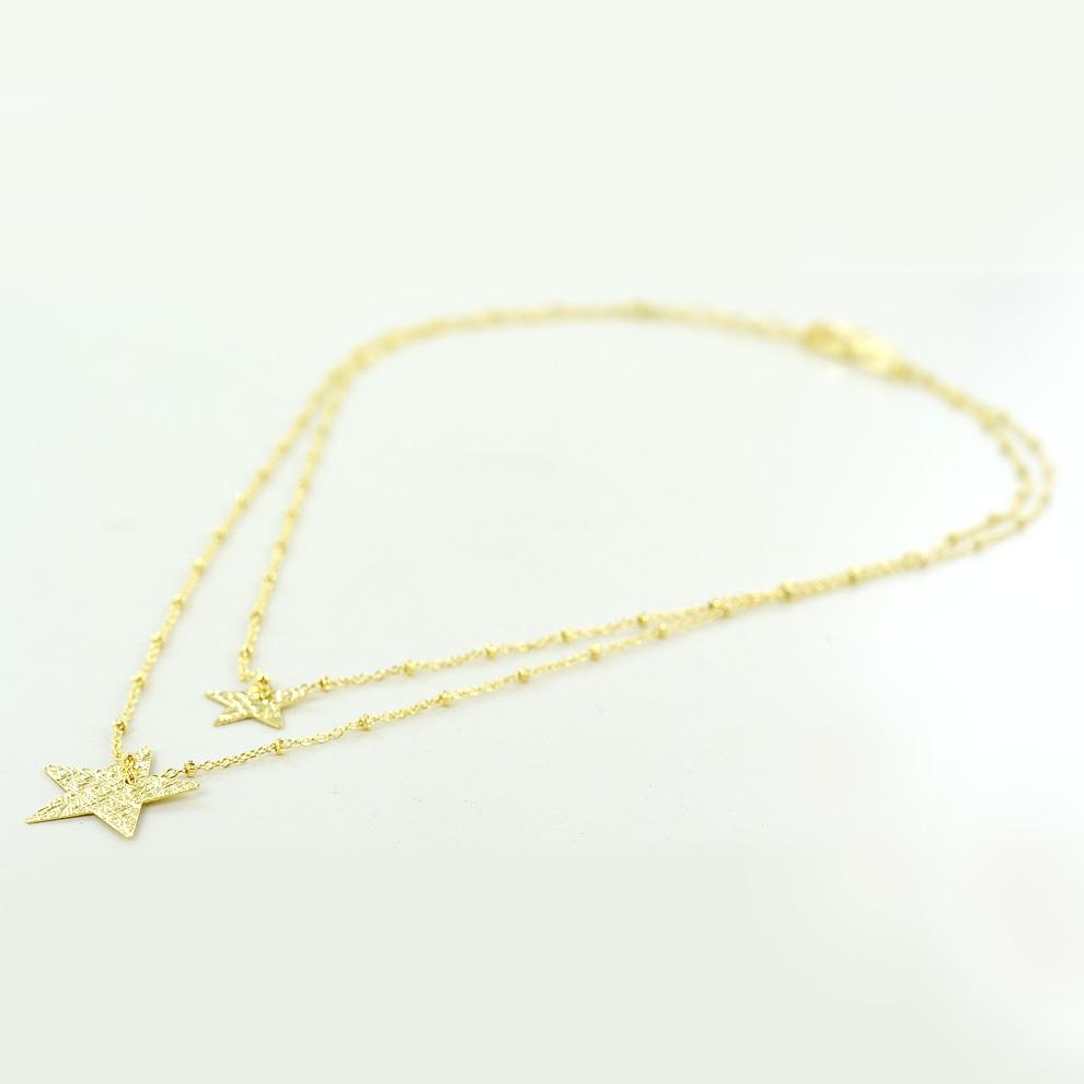 Collana con stelle doppio girocollo in argento collezione Shiny