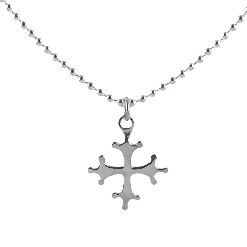 Collana da 50 cm con ciondolo Croce Pisa grande in argento