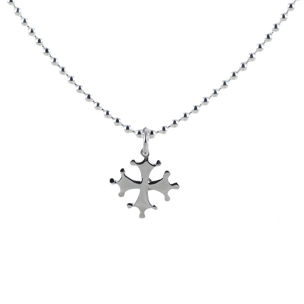Collana da 50 cm con ciondolo Croce Pisa piccola in argento
