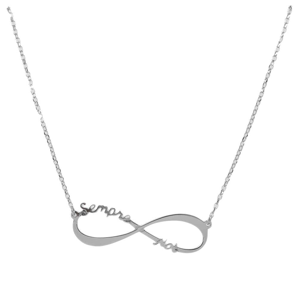 Collana da ragazza personalizzabile con simbolo infinito in argento
