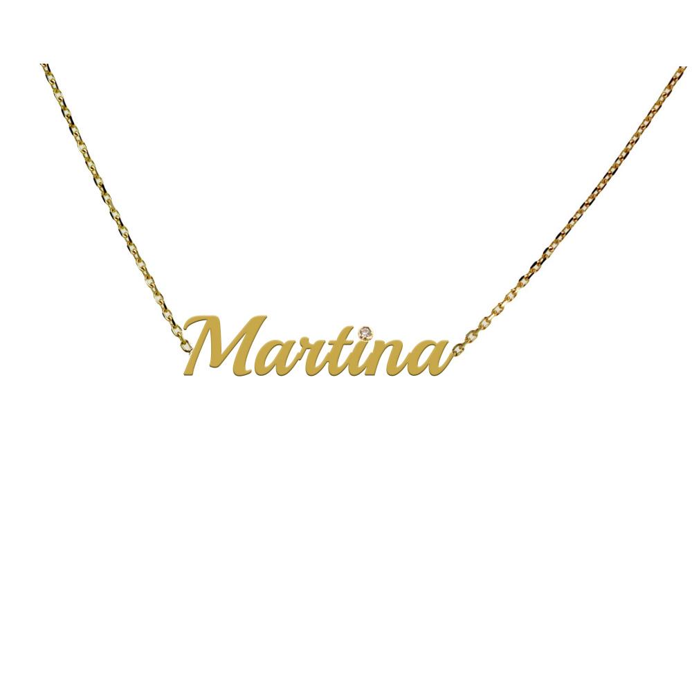 Collana da ragazza personalizzata con nome in oro e diamante
