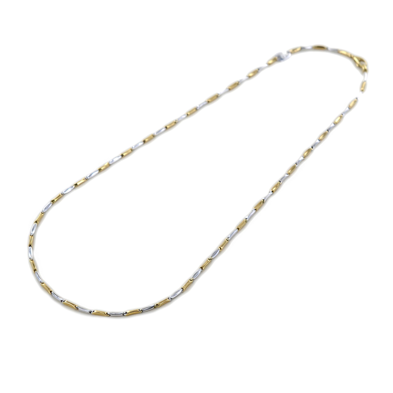 Collana da uomo in oro bianco e giallo 45 cm