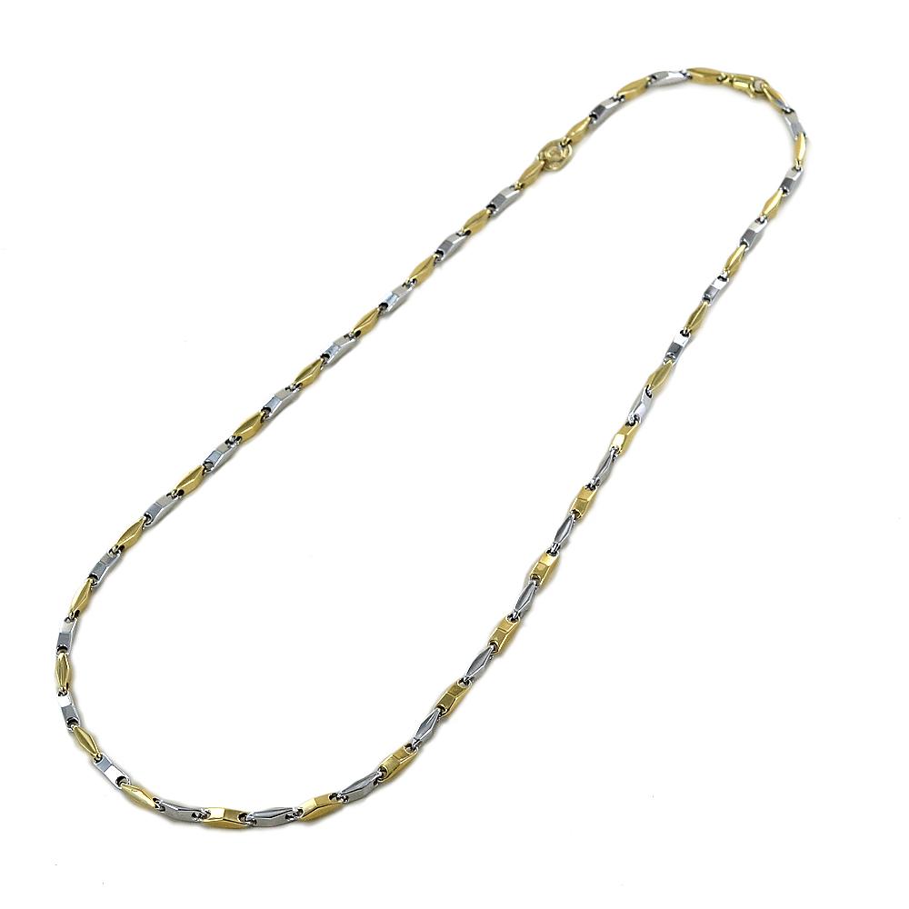 Collana da uomo in oro bianco e giallo 50 cm