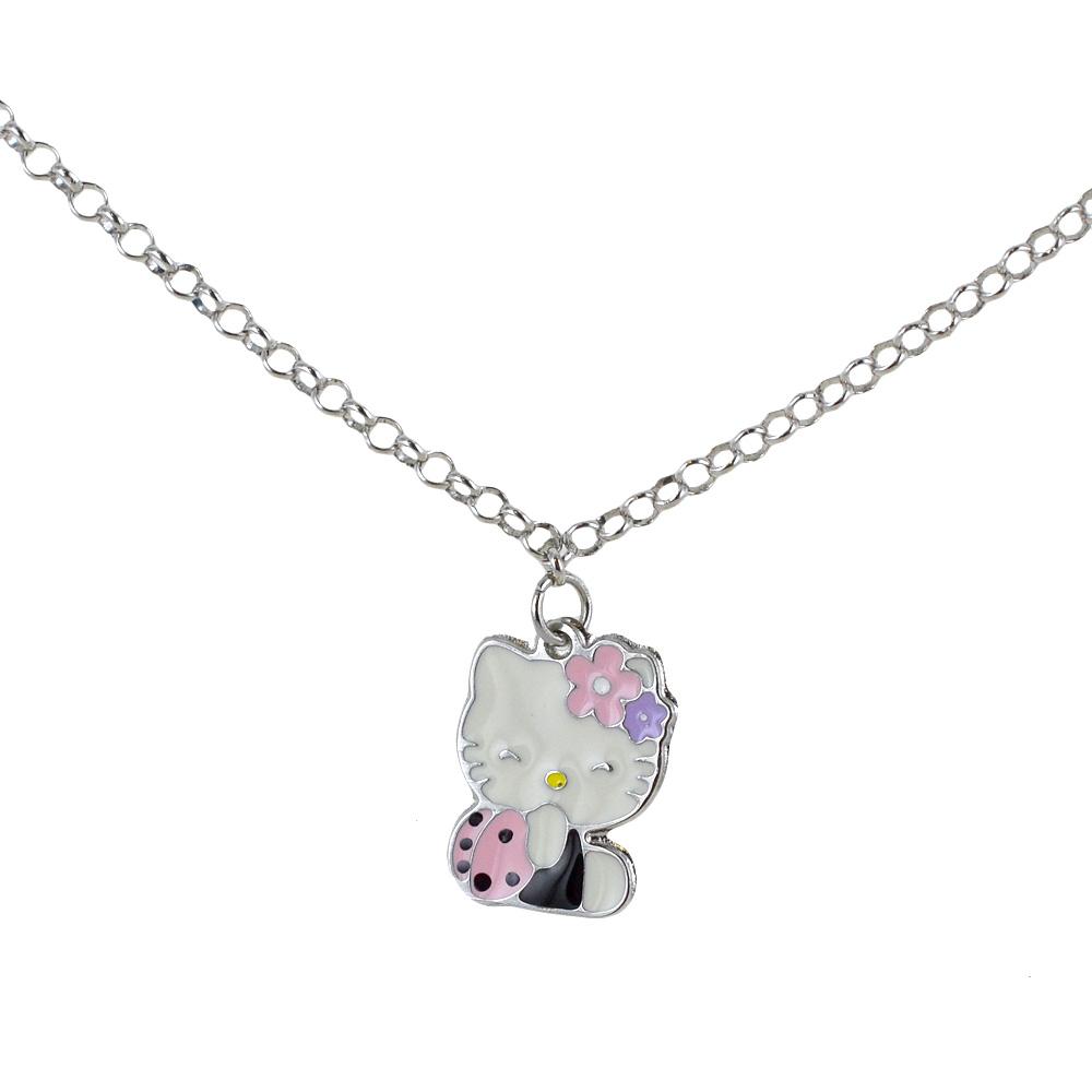 Collana di Hello Kitty Coccinella in argento e acciaio