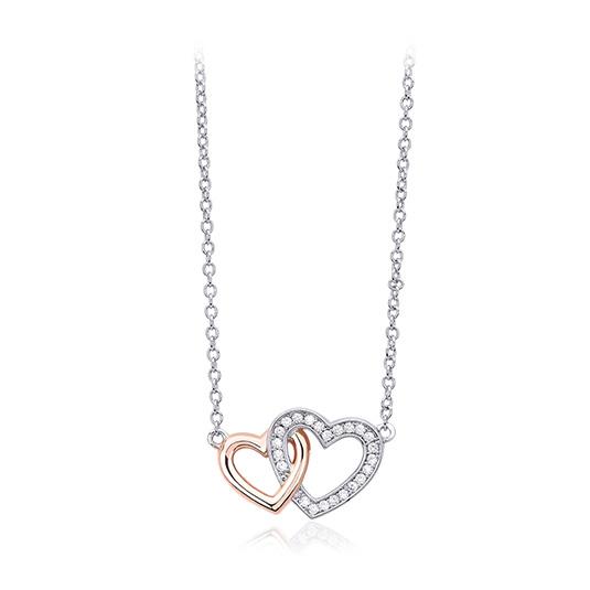 Collana donna Mabina in argento con doppio cuore e zirconi 553172
