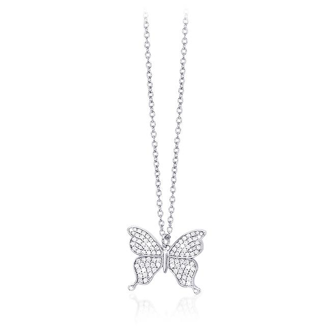Collana donna Mabina in argento con farfalla e zirconi 553189