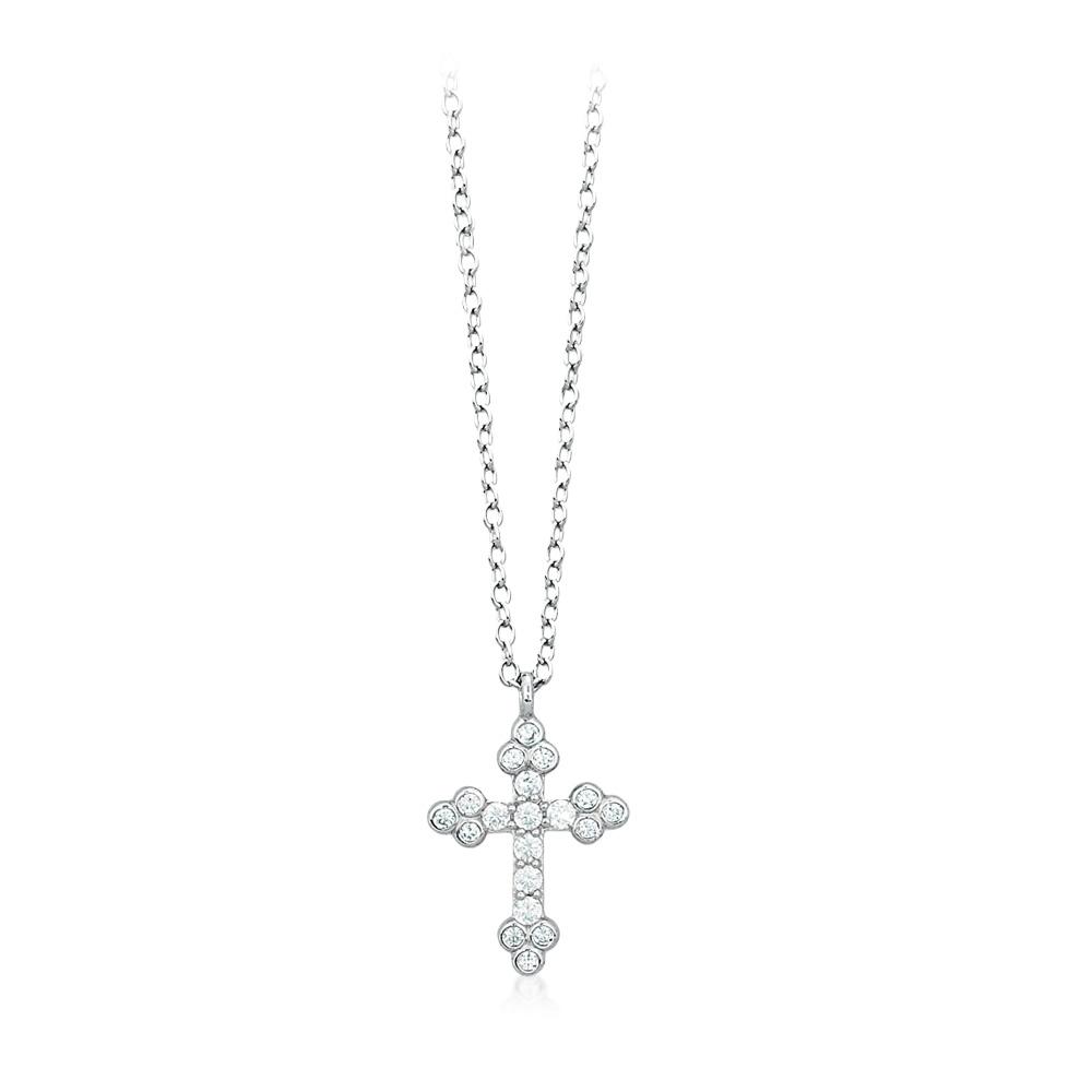 Collana donna Mabina in argento Croce con zirconi 553068