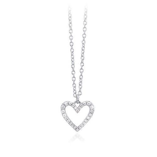Collana donna Mabina in argento cuore con zirconi 553108