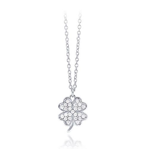Collana donna Mabina in argento quadrifoglio con zirconi 553107