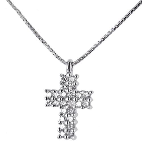 Collana e pendente Croce in oro con Diamanti ct. 0.14 G