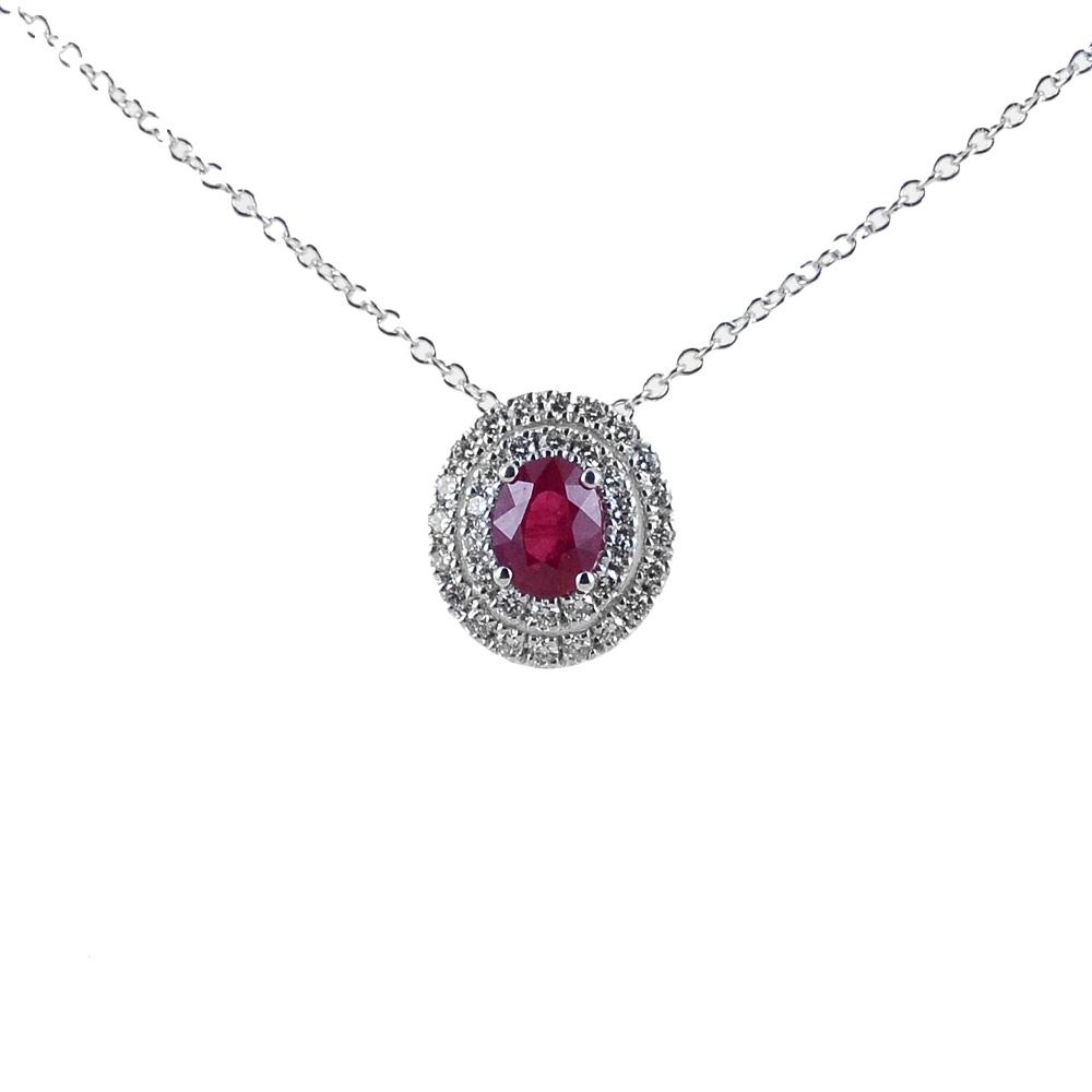Collana e pendente in oro con Rubino doppio contorno di diamanti