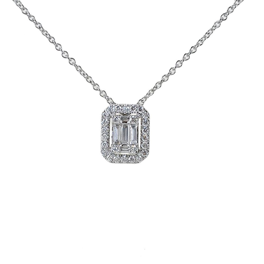 Collana effetto punto luce Salvini diamante baguette contorno di diamanti