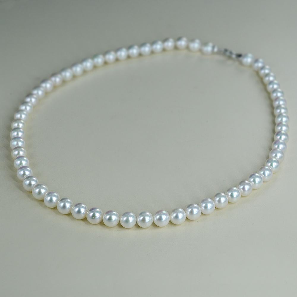 Collana filo di perle Akoya 7.00 - 7.50 mm AA con chiusura con diamante