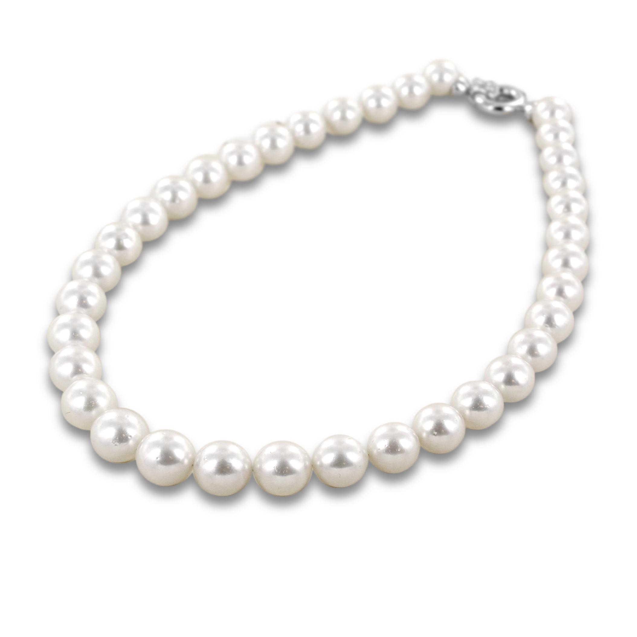 Collana filo di perle Australiane con chiusura in oro e diamanti