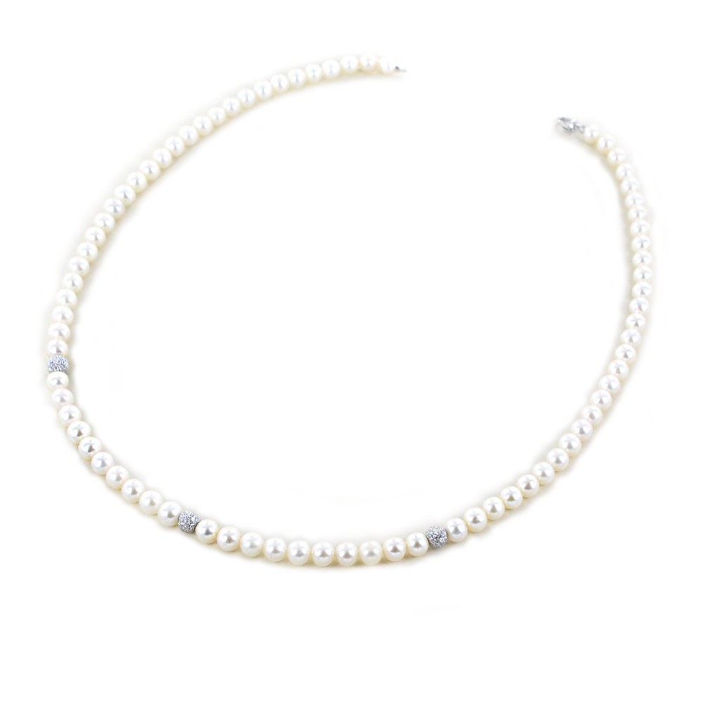 Collana Filo di Perle Freshwater 5.00 - 5.50 mm con sfere diamantate