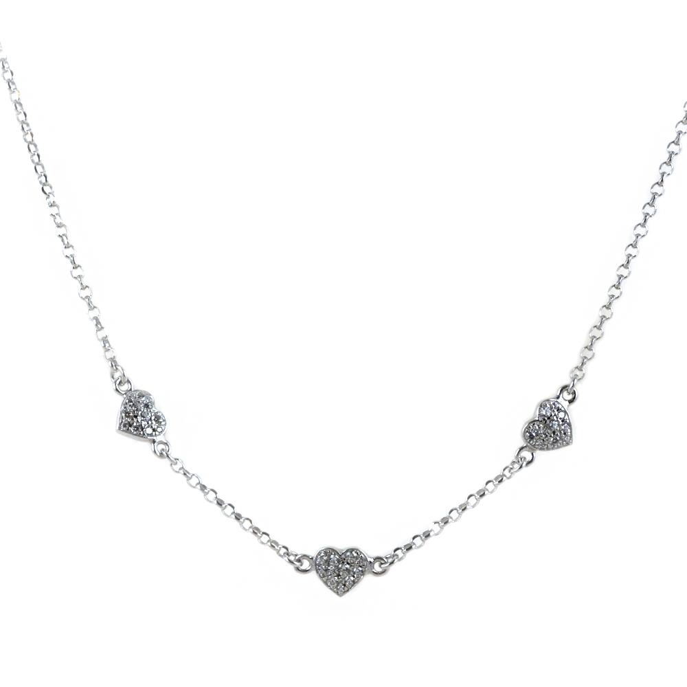 Collana girocollo con cuori in argento con zirconi luminosi