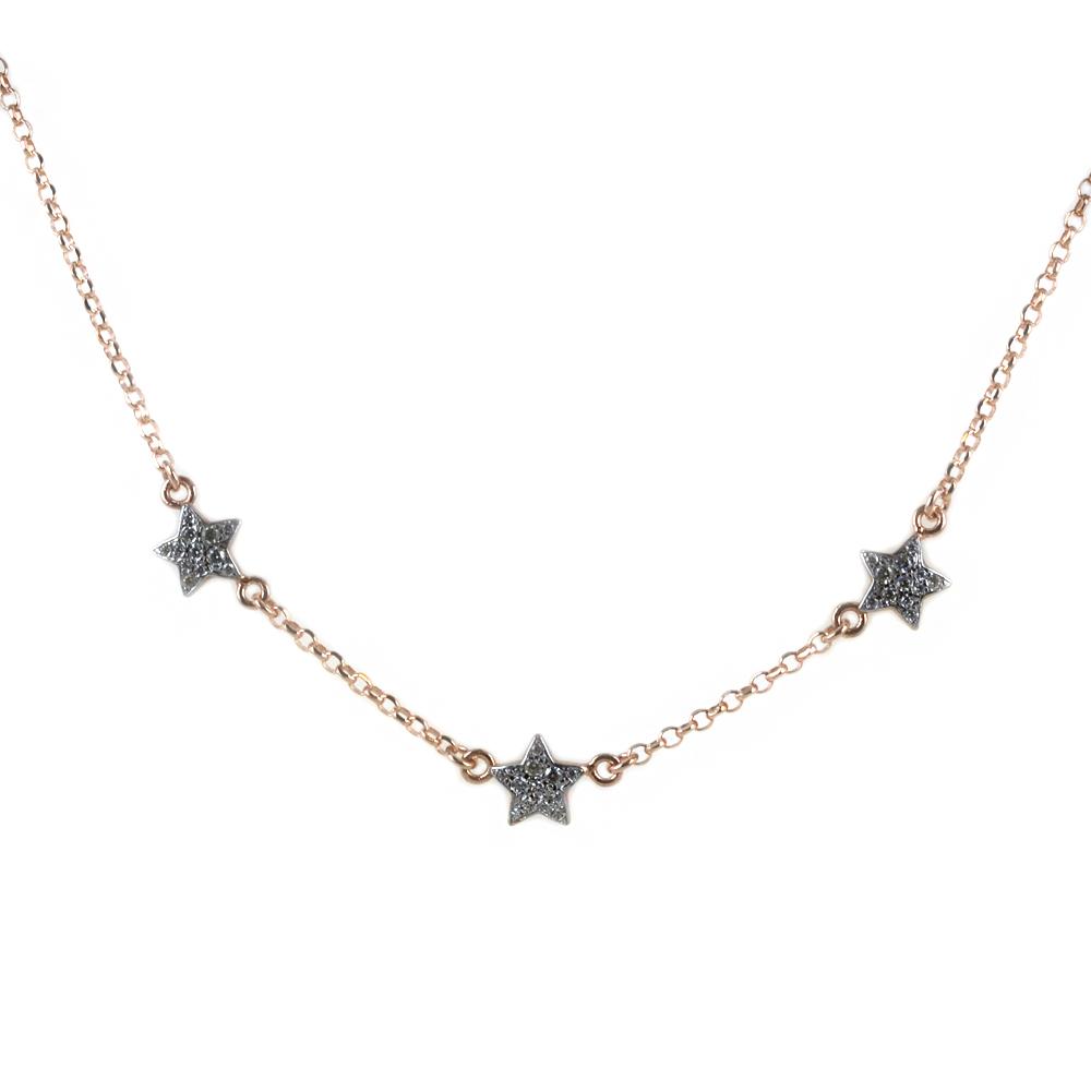 Collana girocollo con stelle in argento rose con zirconi luminosi