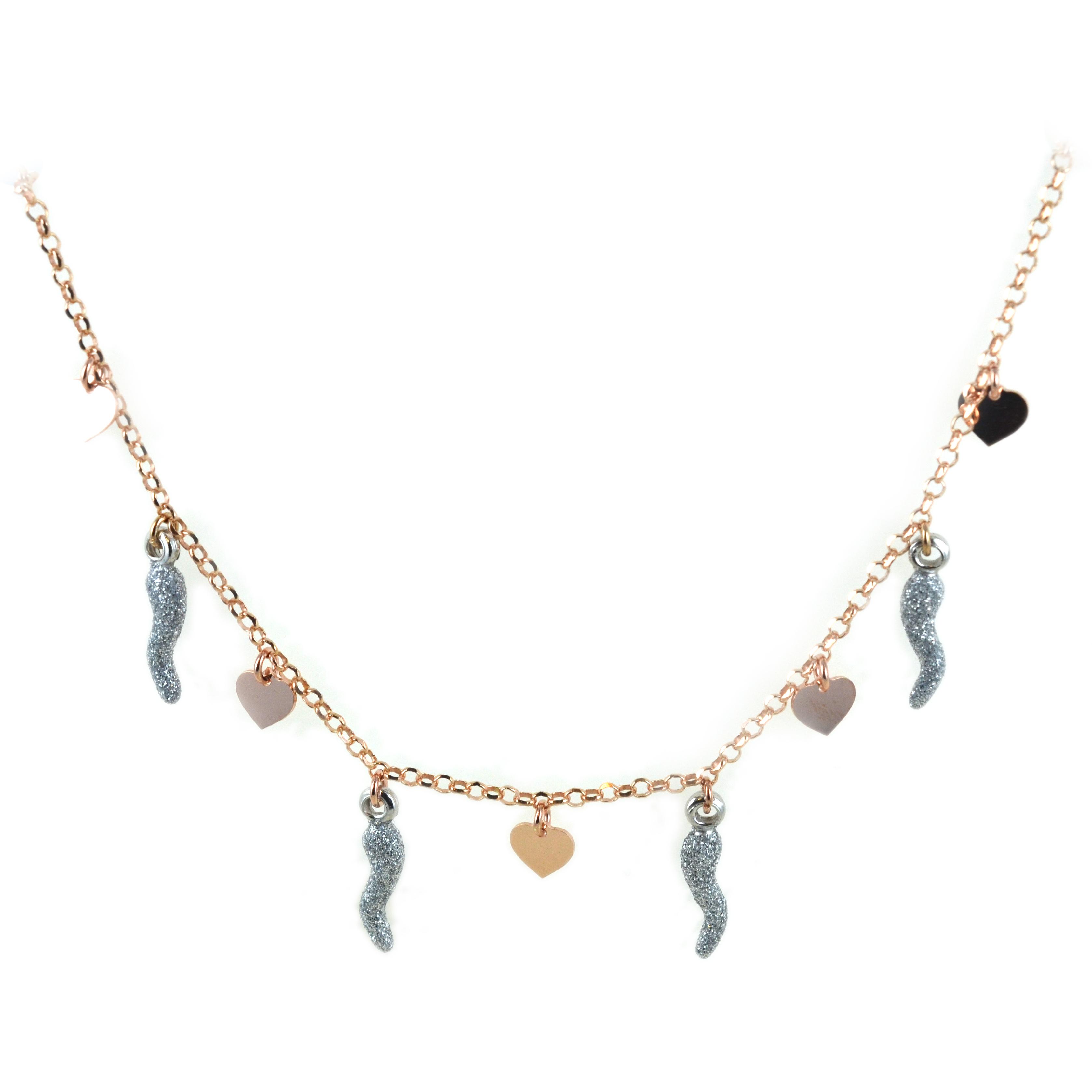 Collana in argento con charms cuori e corni glitter