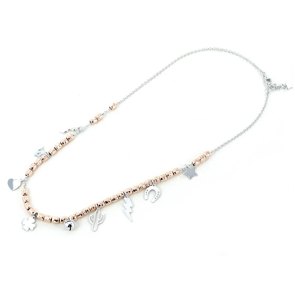 Collana in argento con charms Portafortuna e cilindri rose