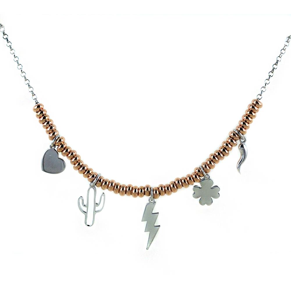 Collana in argento con charms Portafortuna e sfere rose