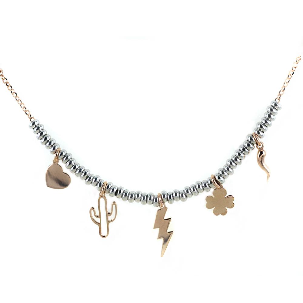 Collana in argento con charms Portafortuna rose
