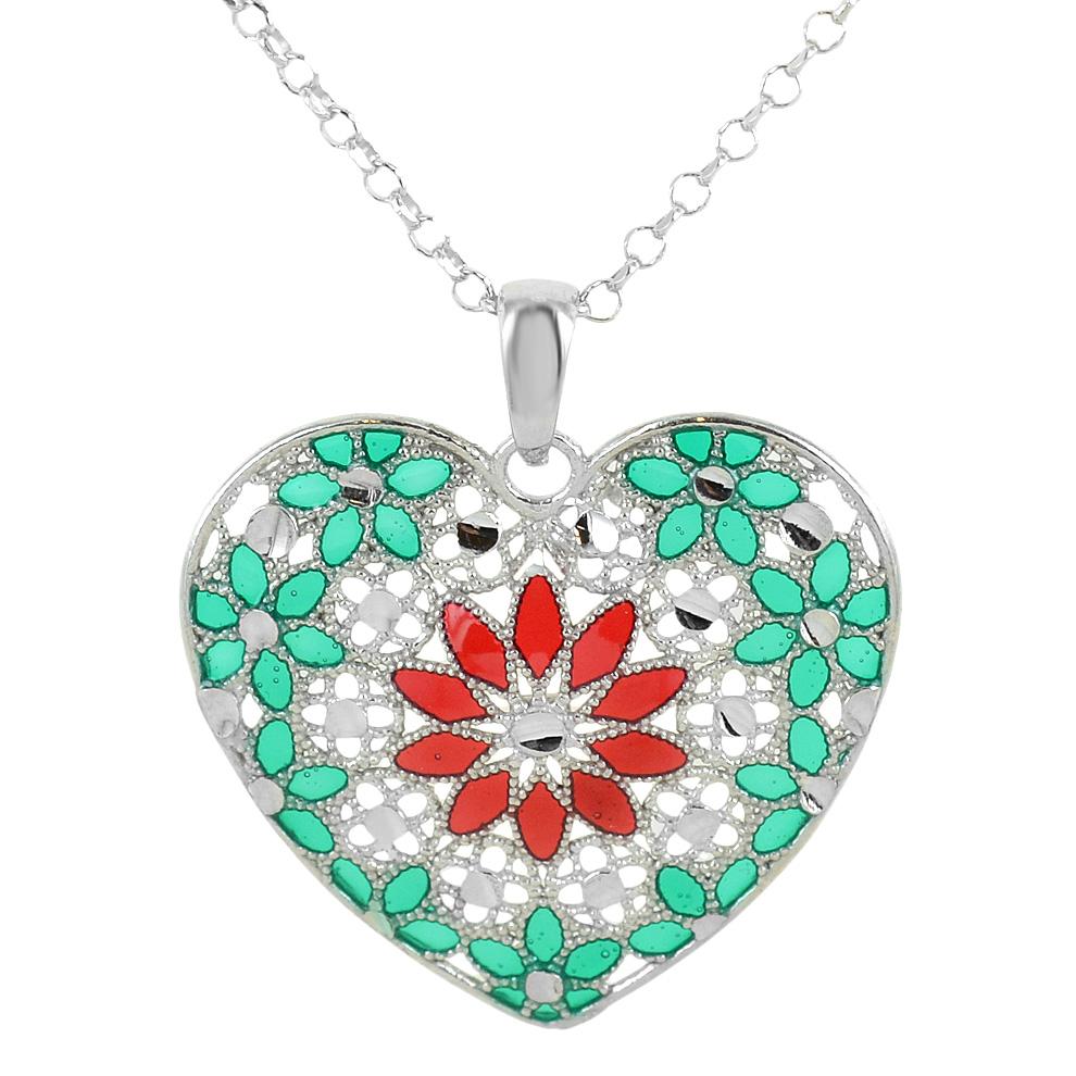 Collana in argento con pendente cuore e smalti verde rosso collezione Notre Dame