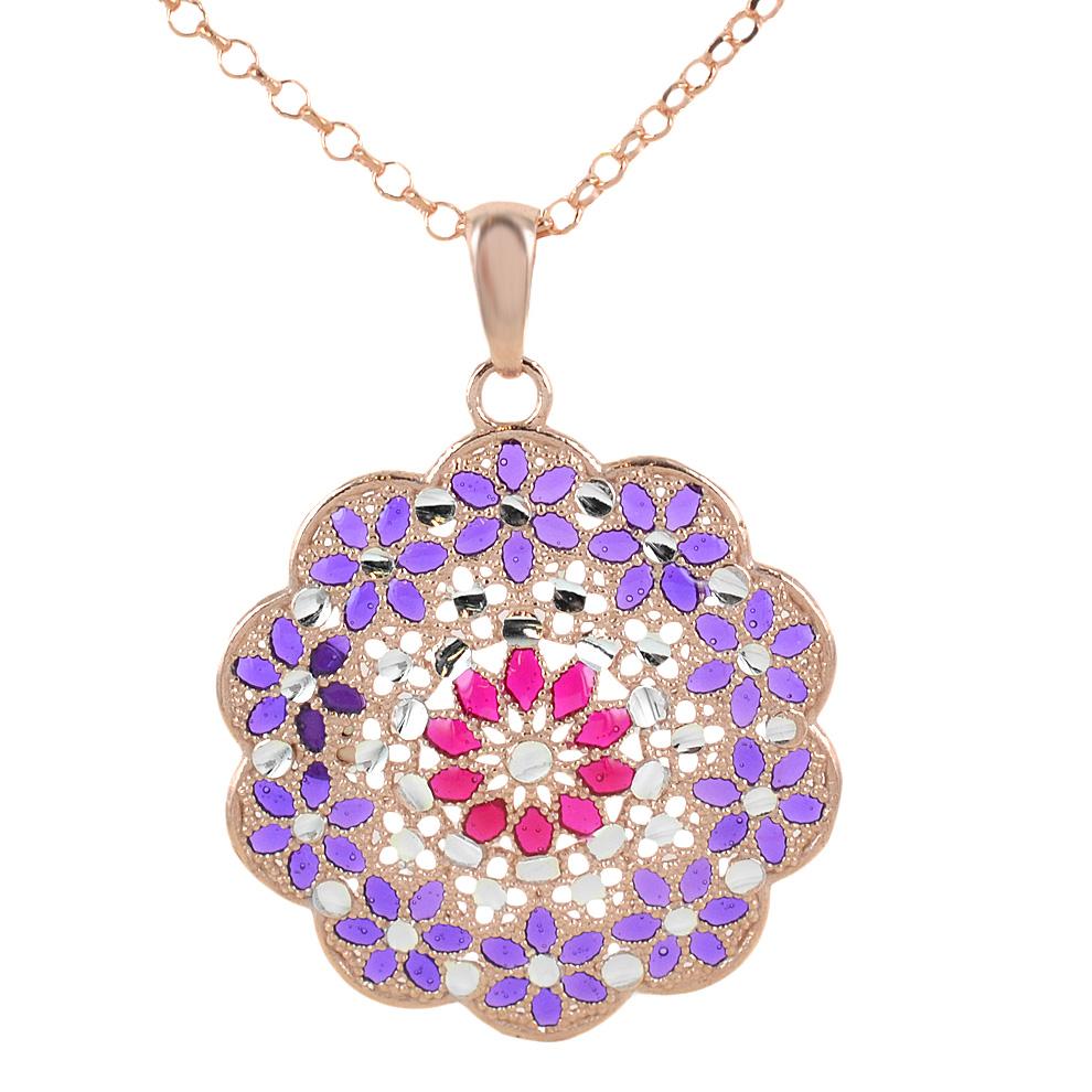 Collana in argento con pendente fiore e smalti viola e rosa collezione Notre Dame