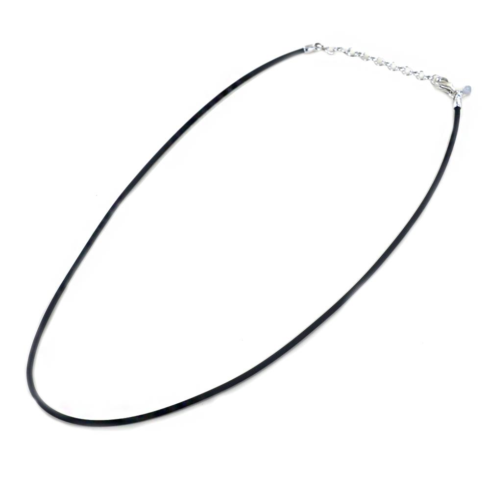 Collana in argento e Caucciù spesso 1.65 mm colore Nero