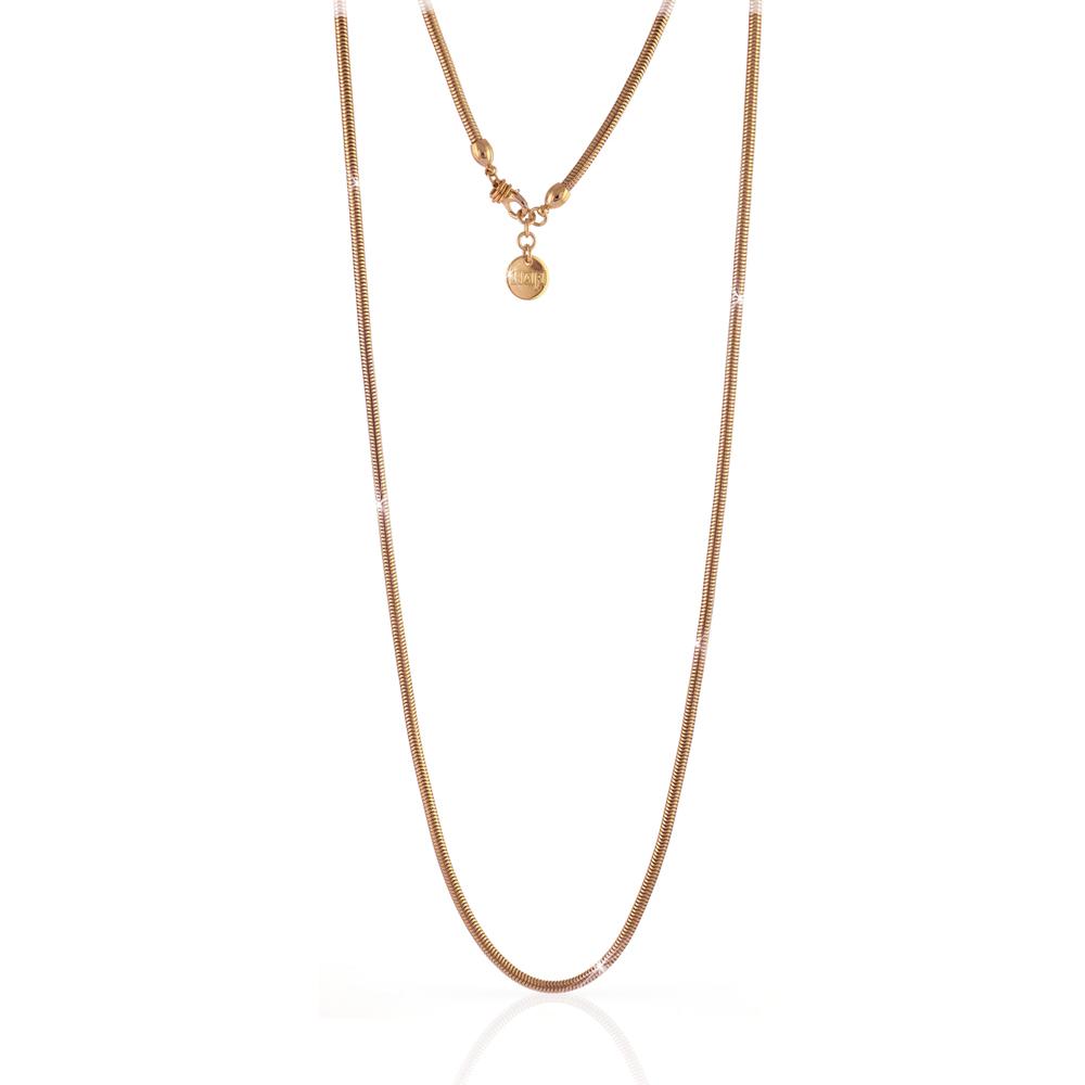 Collana Unoaerre in bronzo Rosa con catena Tubolare tonda