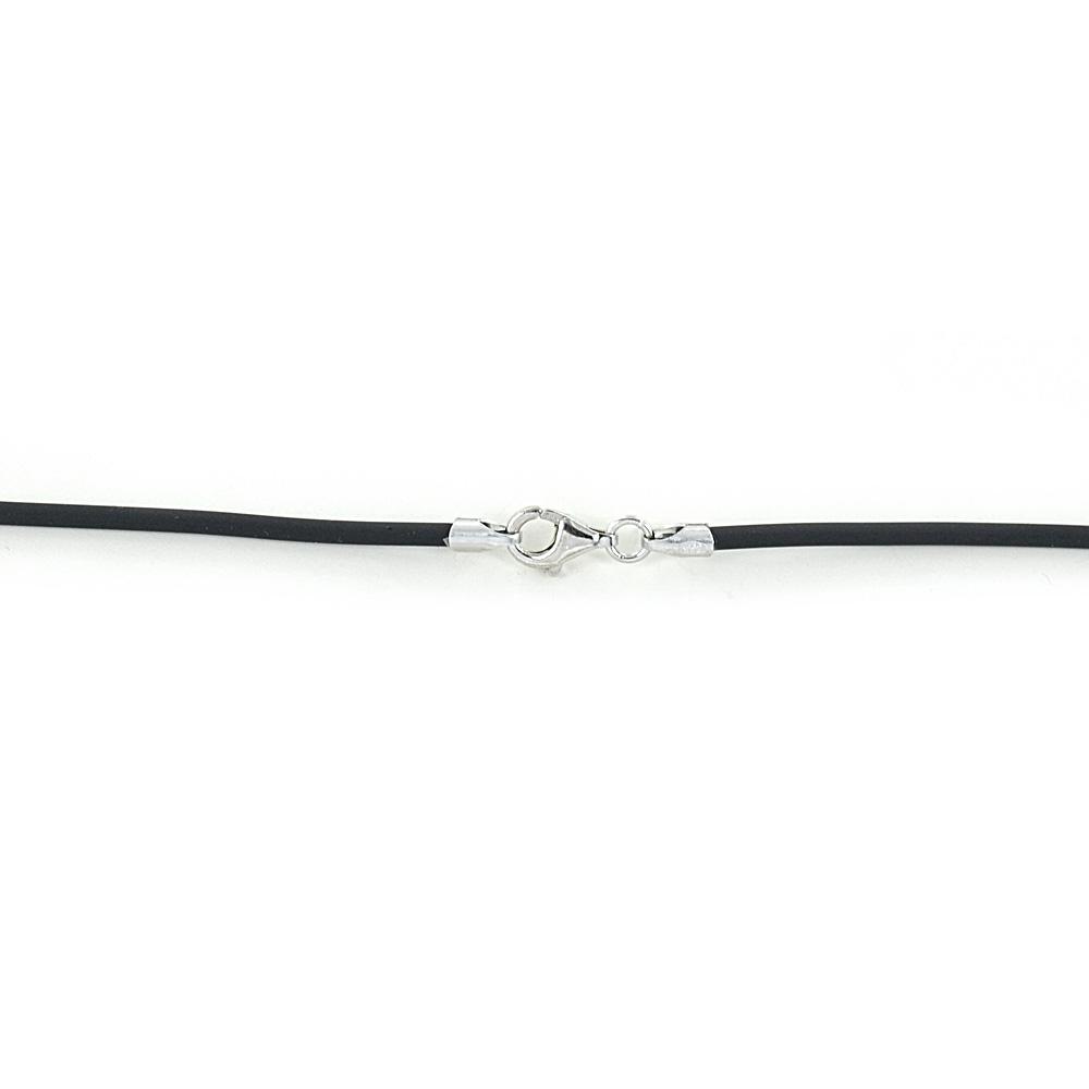 Collana in caucciù nero 60 cm e chiusura in argento