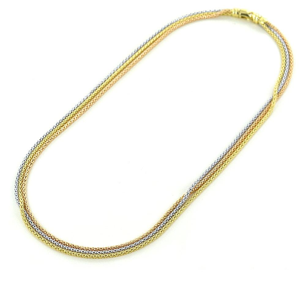 Collana in oro tre colori - girocollo a tre corde maglia morbida