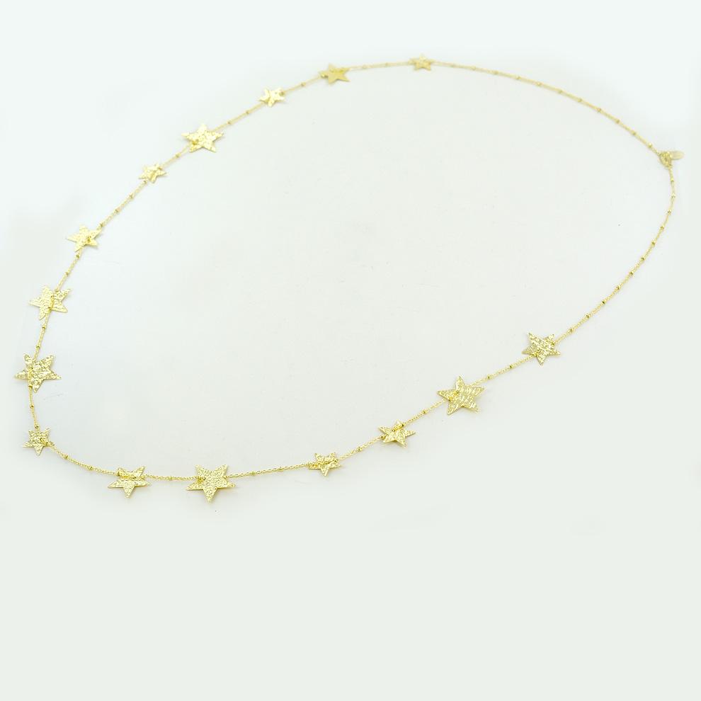Collana lunga con stelle in argento dorato collezione Shiny