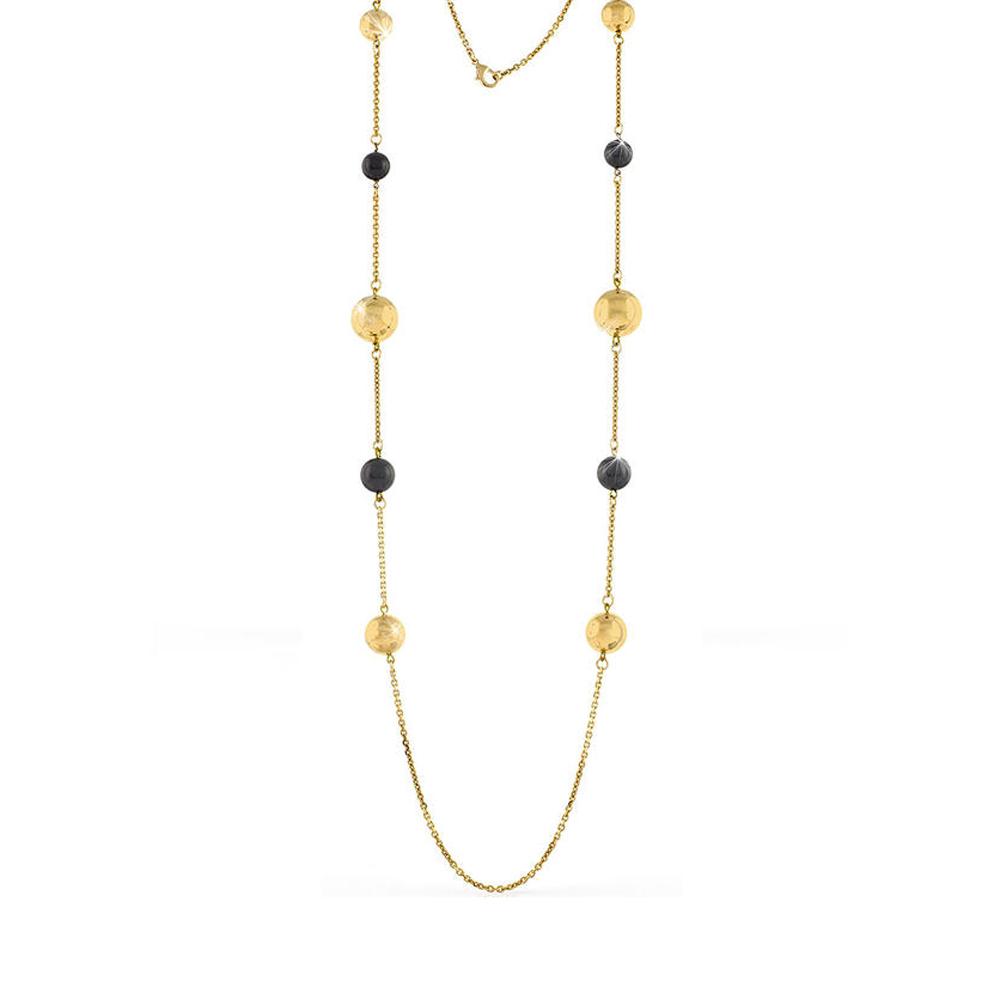 Collana Unoaerre lunga in bronzo Rosa con sfere nere lucide