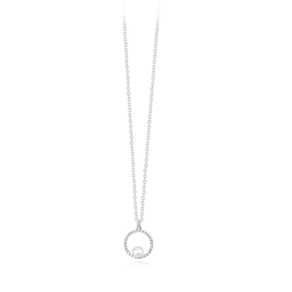 Collana Mabina donna con pendente cerchio con perla 553259