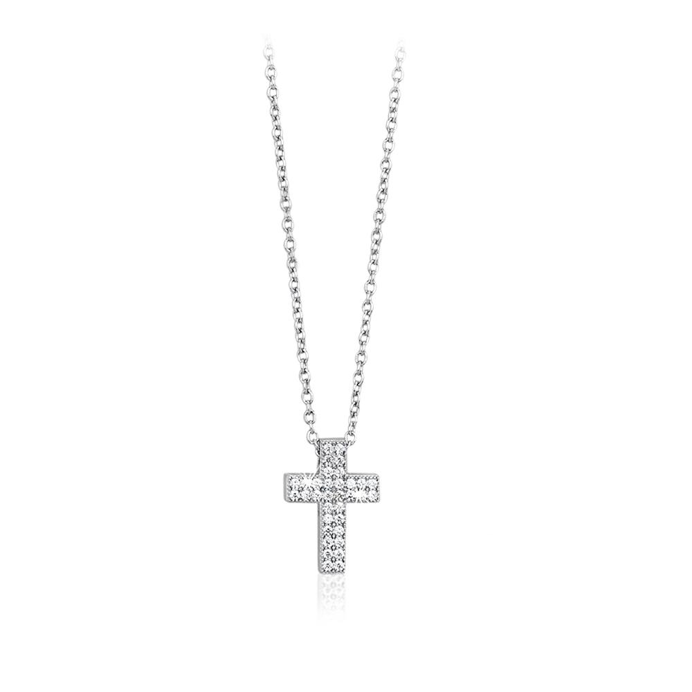 Collana Mabina donna con pendente croce con zirconi 553015