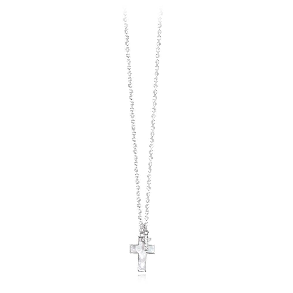 Collana Mabina donna con pendente croce madreperla 553269